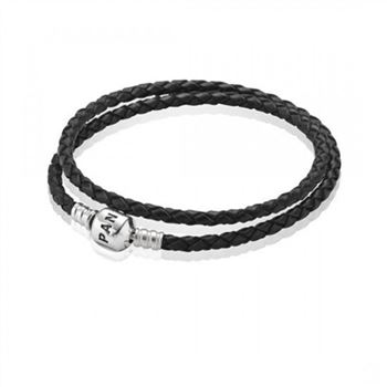 Pandora Black Braided Double-Leather Charm Bracelet