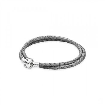 Pandora Silver-Grey Braided Double-Leather Charm Bracelet