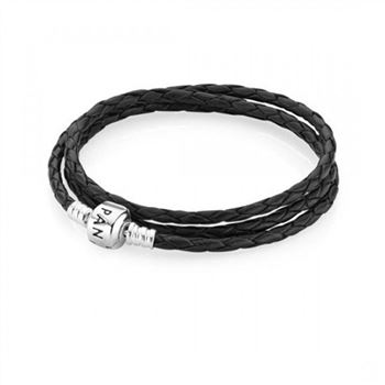 Pandora Black Braided Triple-Leather Charm Bracelet