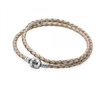 Pandora Champagne Braided Double-Leather Charm Bracelet