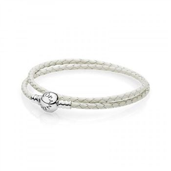 Pandora Ivory White Braided Double-Leather Charm Bracelet