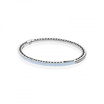Pandora Radiant Hearts of Bangle Bracelet Air Blue Enamel &