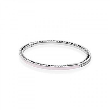 Pandora Radiant Hearts of Bangle Bracelet Light Pink Enamel &amp