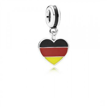 Pandora Germany Heart Flag Black Red Yellow Enamel