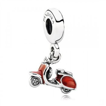 Pandora Scooter Red Enamel Clear CZ