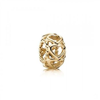 Pandora Lucky In Love Heart Spacer 14K Gold