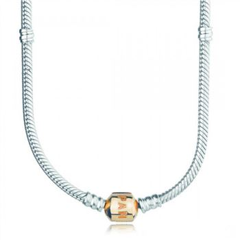 Pandora Silver Charm Necklace With 14K Gold Clasp