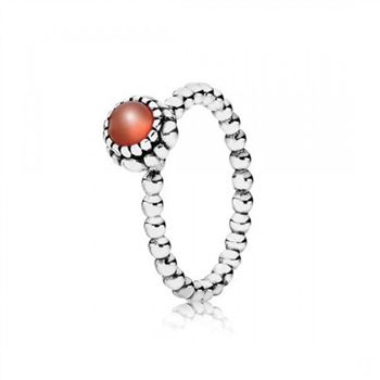 Pandora Birthday Blooms Stackable Ring July Carnelian