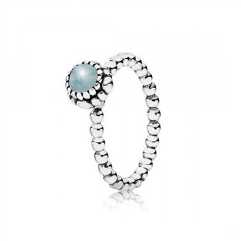 Pandora Birthday Blooms Stackable Ring March Aquamarine