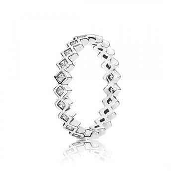 Pandora Alluring Princess Stackable Ring Clear CZ