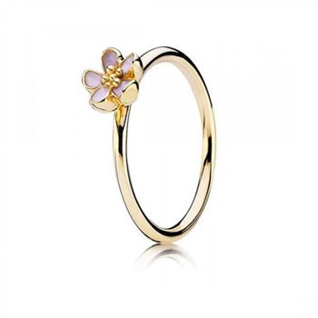 Pandora Cherry Blossom Stackable Ring Pink 14K Gold