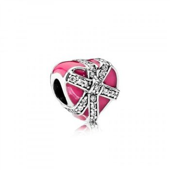 Pandora Gifts of Love Magenta Enamel & Clear CZ